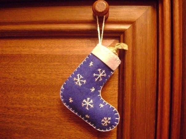 Сапожек для Санта Клауса из войлока