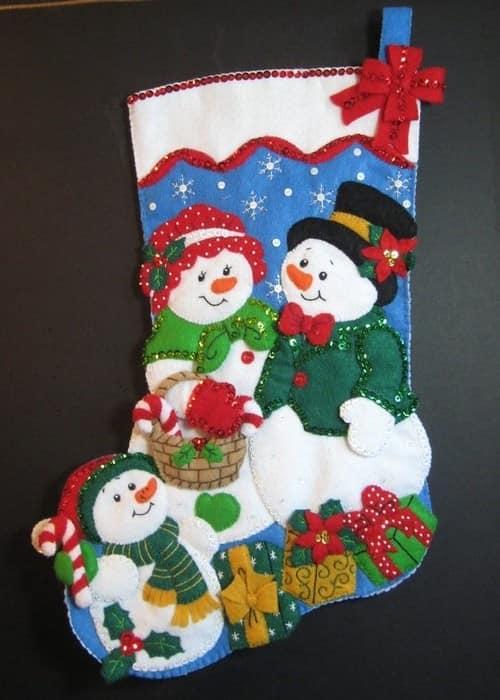 Сапожек для Санта Клауса в технике лоскутного шитья