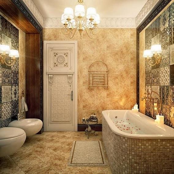 Золотой цвет в интерьере ванной комнаты