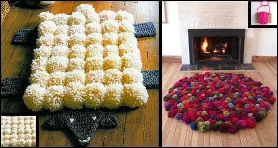 Плетеные коврики из помпонов