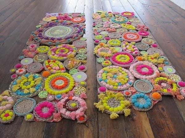 Плетеные коврики из ниток