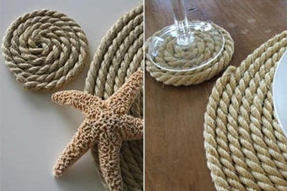 Морской стиль интерьера с использованием каната и веревок