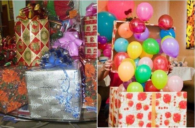 Каробка с воздушными шарами в подарок ко Дню Святого Валентина