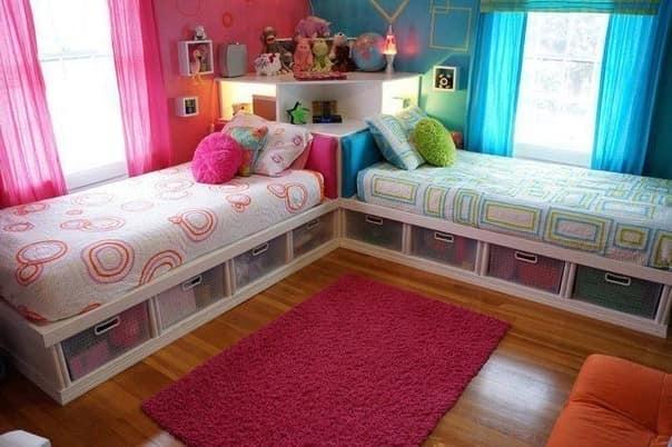 Пространство под кроватью для хранения детских вещей
