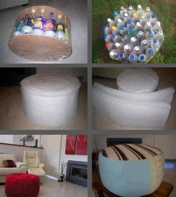 Изготовления пуфика из пластиковых бутылок