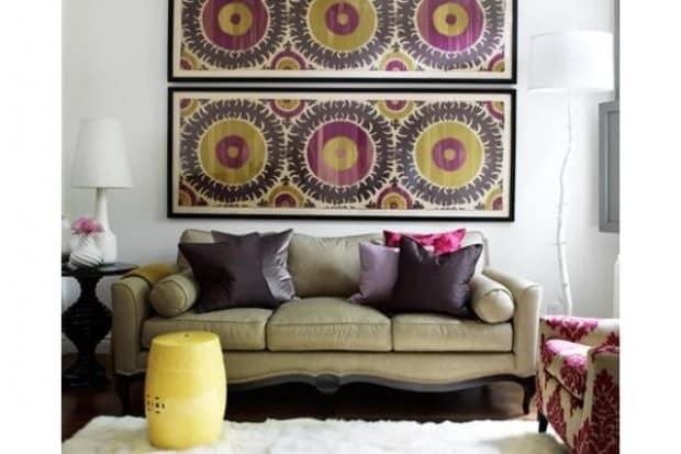 Декор стены тканью