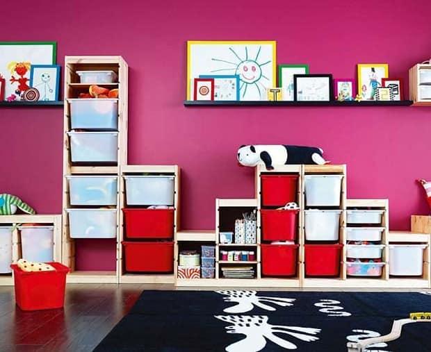 Ящики и корзины в интерьере детской комнаты