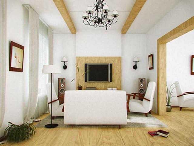 Оснавная цветовая гамма интерьера лесного домика в скандинавском стиле