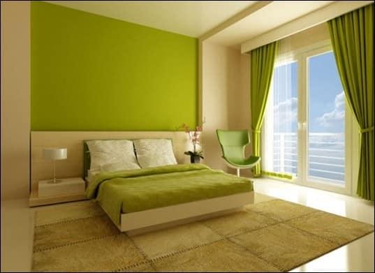 Зеленый летний интерьер квартиры