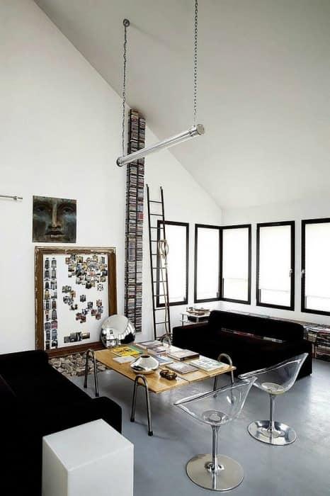Черно-белый дизайн гостиной