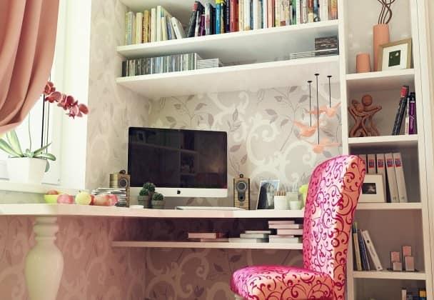 Рабочая зона в комнате для девушки-подростка