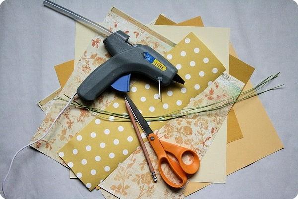 Необходимые инструменты для изготовления осеннего букета в технике квиллинг