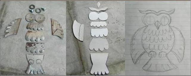 Заготовки для изготовления совы из металла