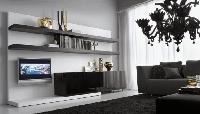 Черна мебель в интерьере гостиной