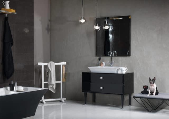 Черная мебель в интереьере ванной комнаты