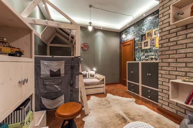 Комната для подростка юноши в стиле лофт