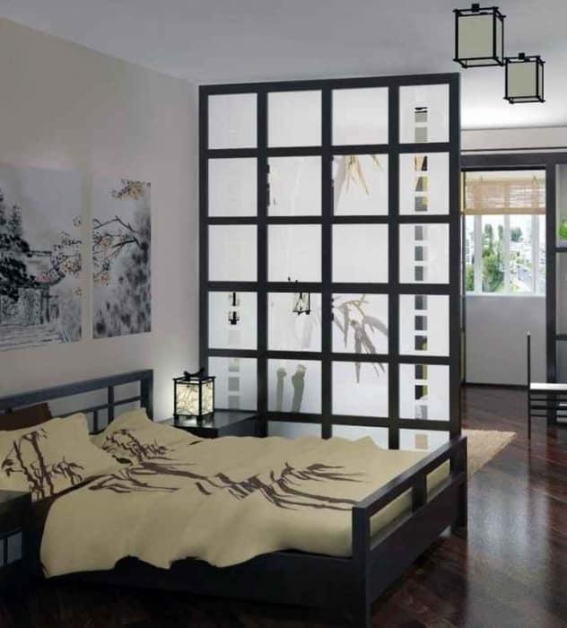 Интерьер маленькой спальни в японском стиле