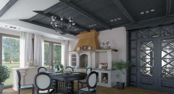 Оформление потолка деревянной веранды