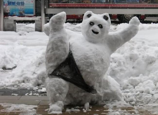 Медведь из снега