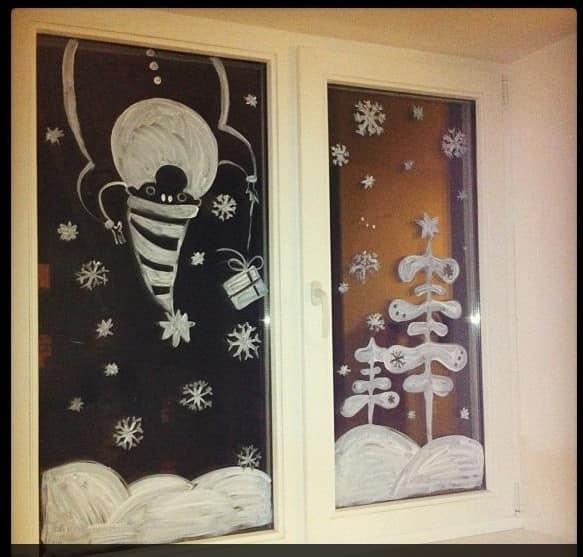 Новогодний рисунок на окне