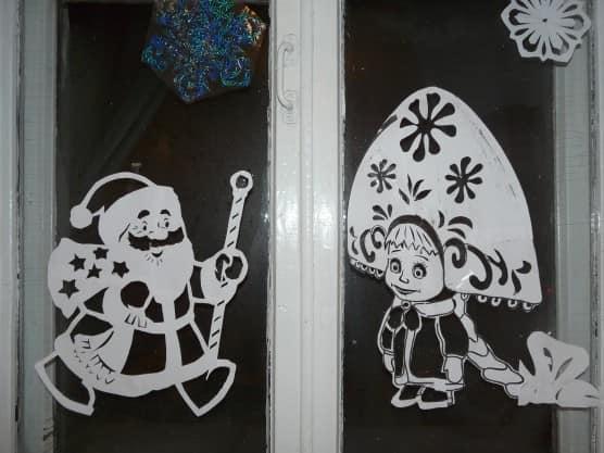 рисунки гуашью на окнах на новый год