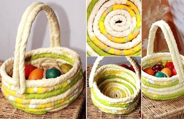 Плетеная корзинка из лоскутков ткани