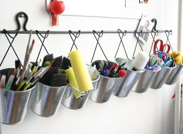 Металлические ведерки для хранения вещей