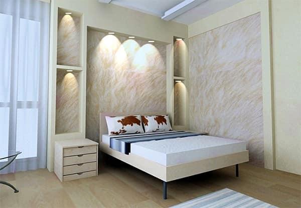 Конструкции из гипсокартона над кроватью в спальне