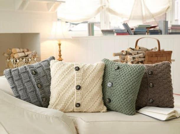 Вязаные подушки в декоре интерьере