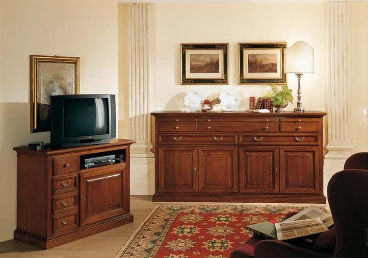 Комод и тумба под ТВ из дерева в дизайне гостиной