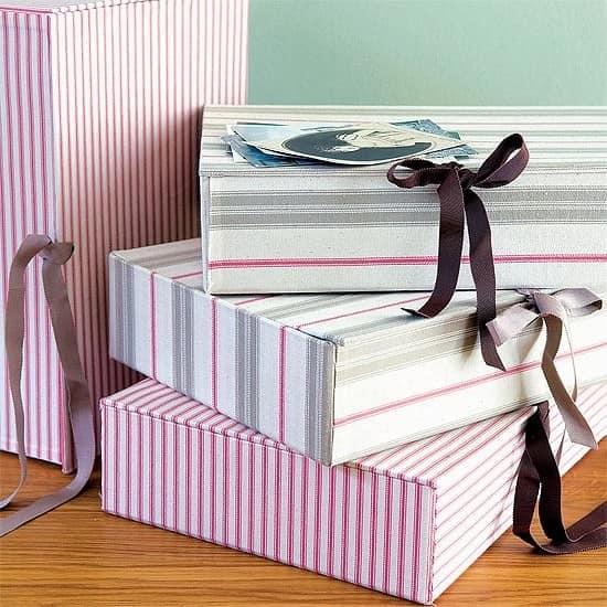 Картонные коробки декорированные обоями