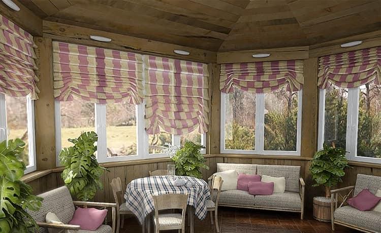 Дачная веранда в кантри стиле: шторы и другой текстиль