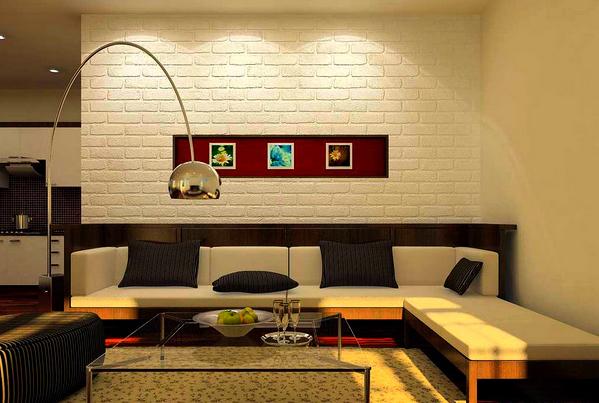 Белая кирпичная стена в интерьере дома