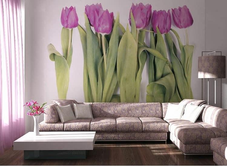 Фотообои тюльпаныы в интерьере