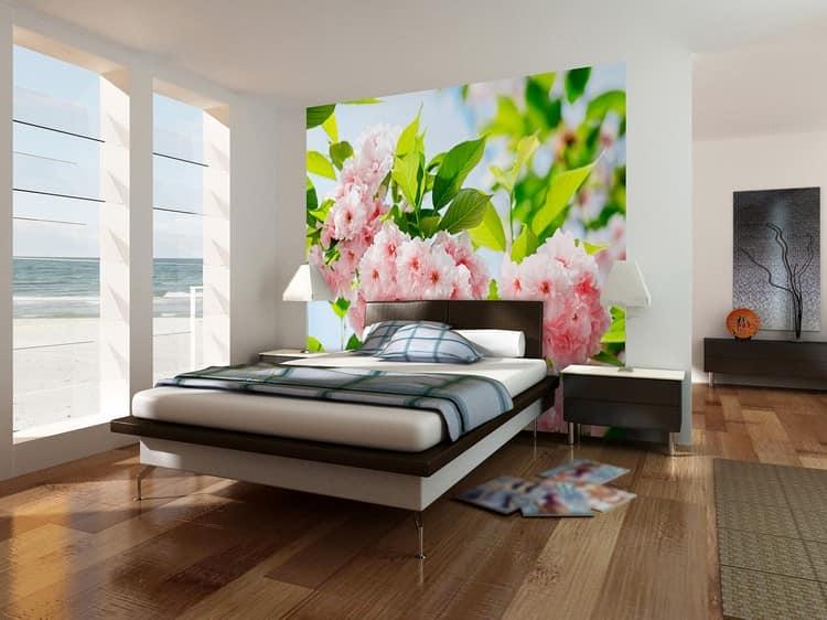 Фотообои цветущая сакура в интерьере