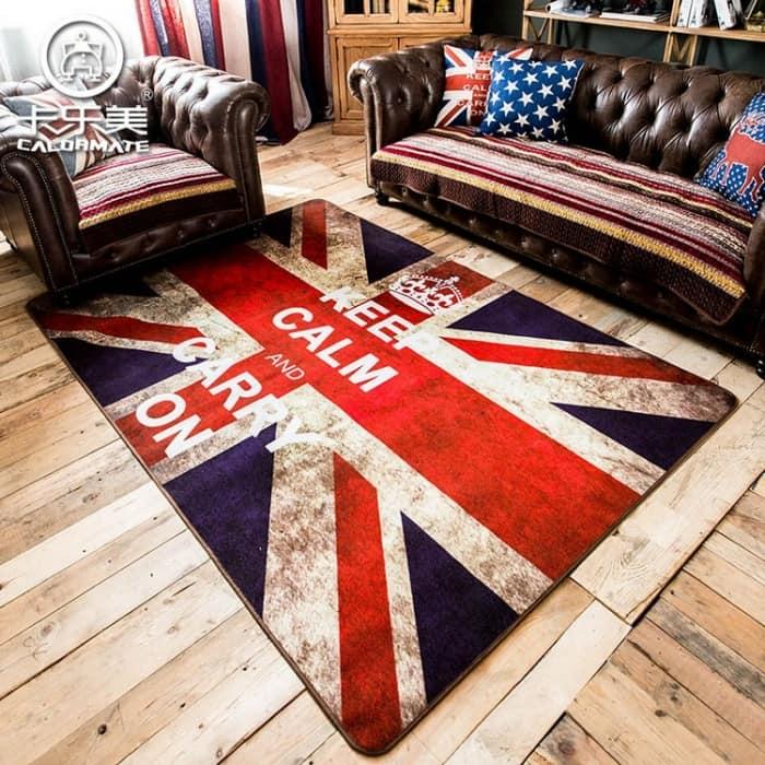 Ковер с английским флагом и надписью Keep calm and carry on
