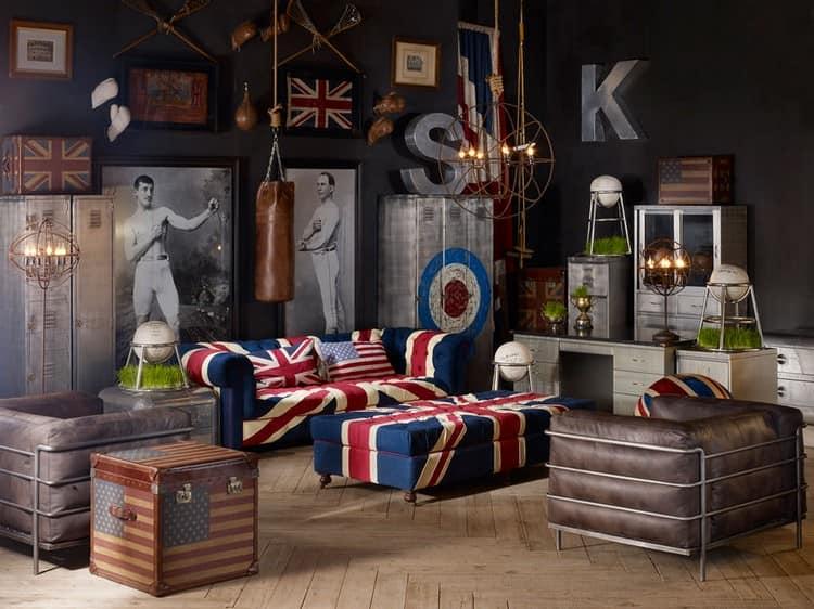 Кресла и диваны с британским флагом на фото интерьеров