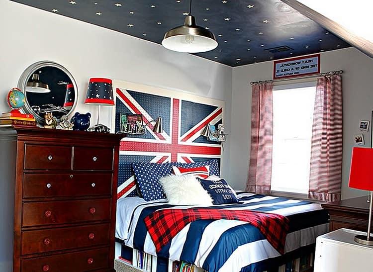 Кровать с британским флагом в вашей спальне