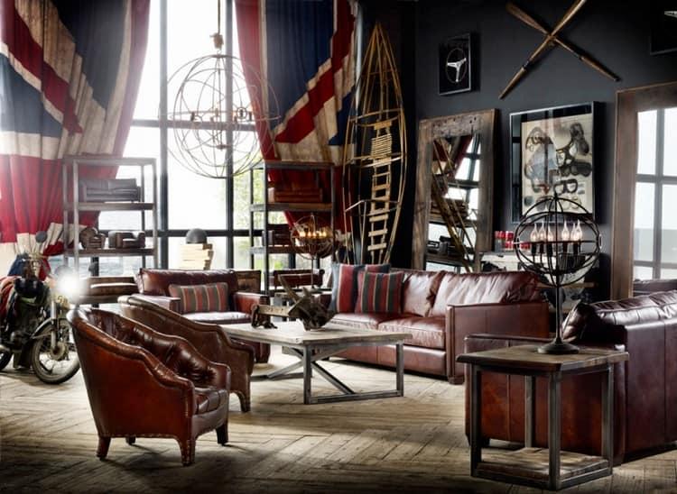 Шторы и занавески с британским флагом подойдут для интерьеров в классическом стиле