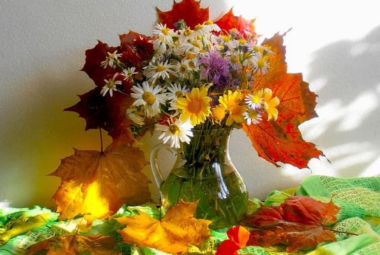 Осенний букет с листьями