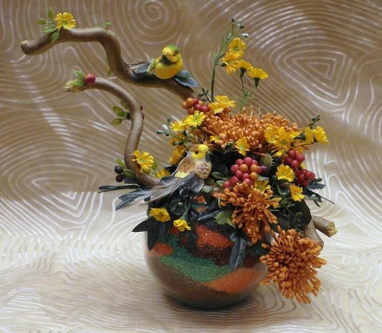 Экибана из осенних цветов своими руками