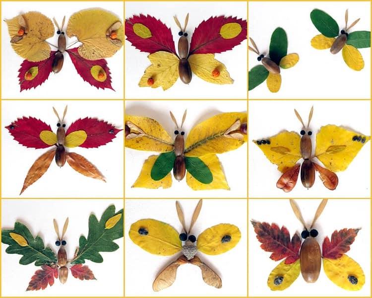 Поделки с детьми из осенних даров природы: стрекозы и бабочки