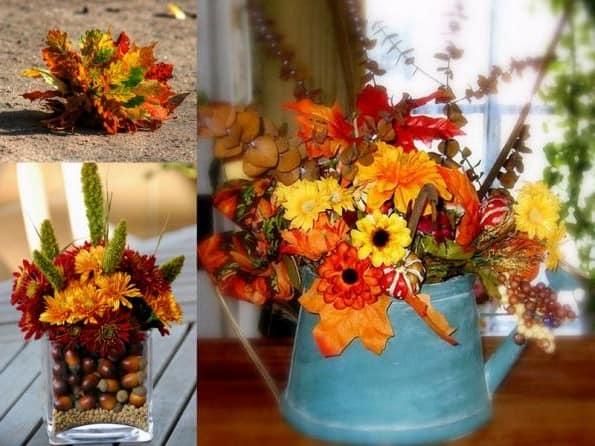 Красивые поделки из осенних цветов и других природных материалов