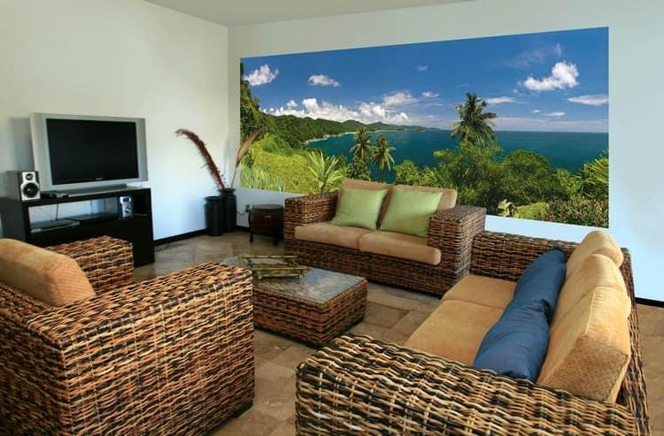 Фотообои с пальмами в гостиной