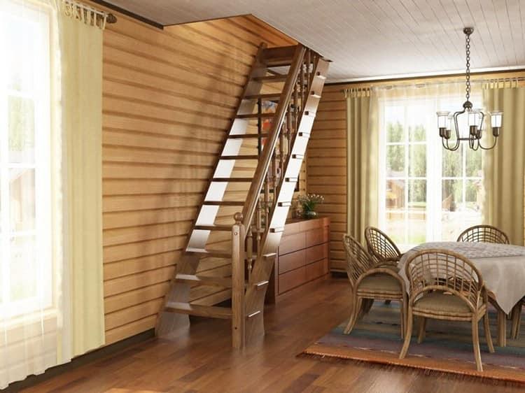 Прямая чердачная лестница в интерьере