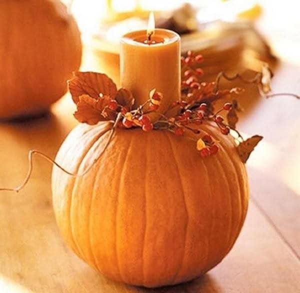 Осенняя поделка: подсвечник из тыквы