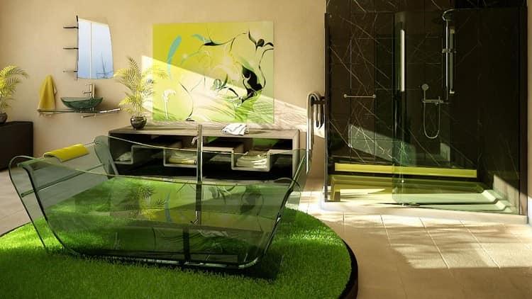 Цветная стеклянная ванна