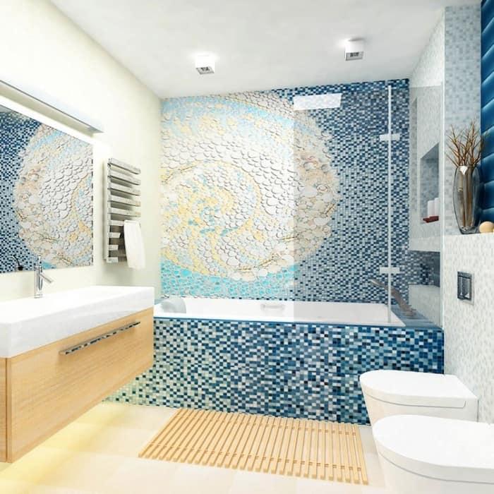 Галька в ванной комнате