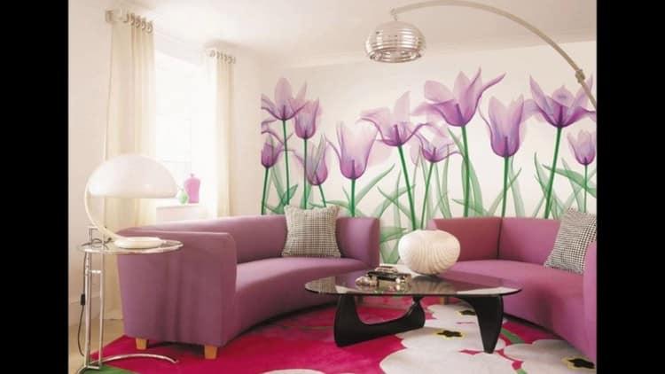 Фотообои цветов в интерьере