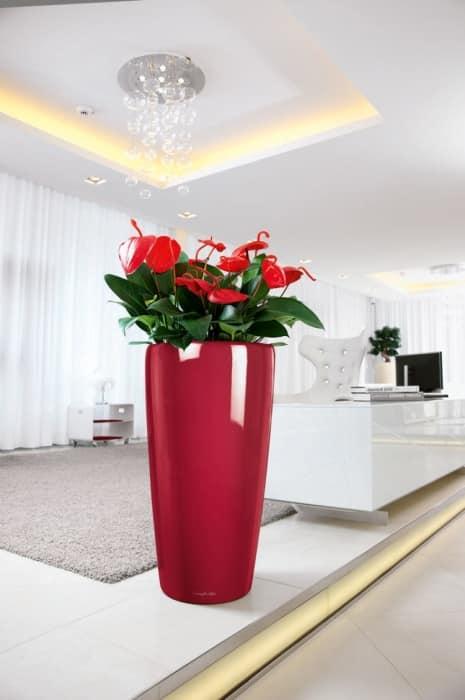 Алая напольная ваза в белоснежном интерьере